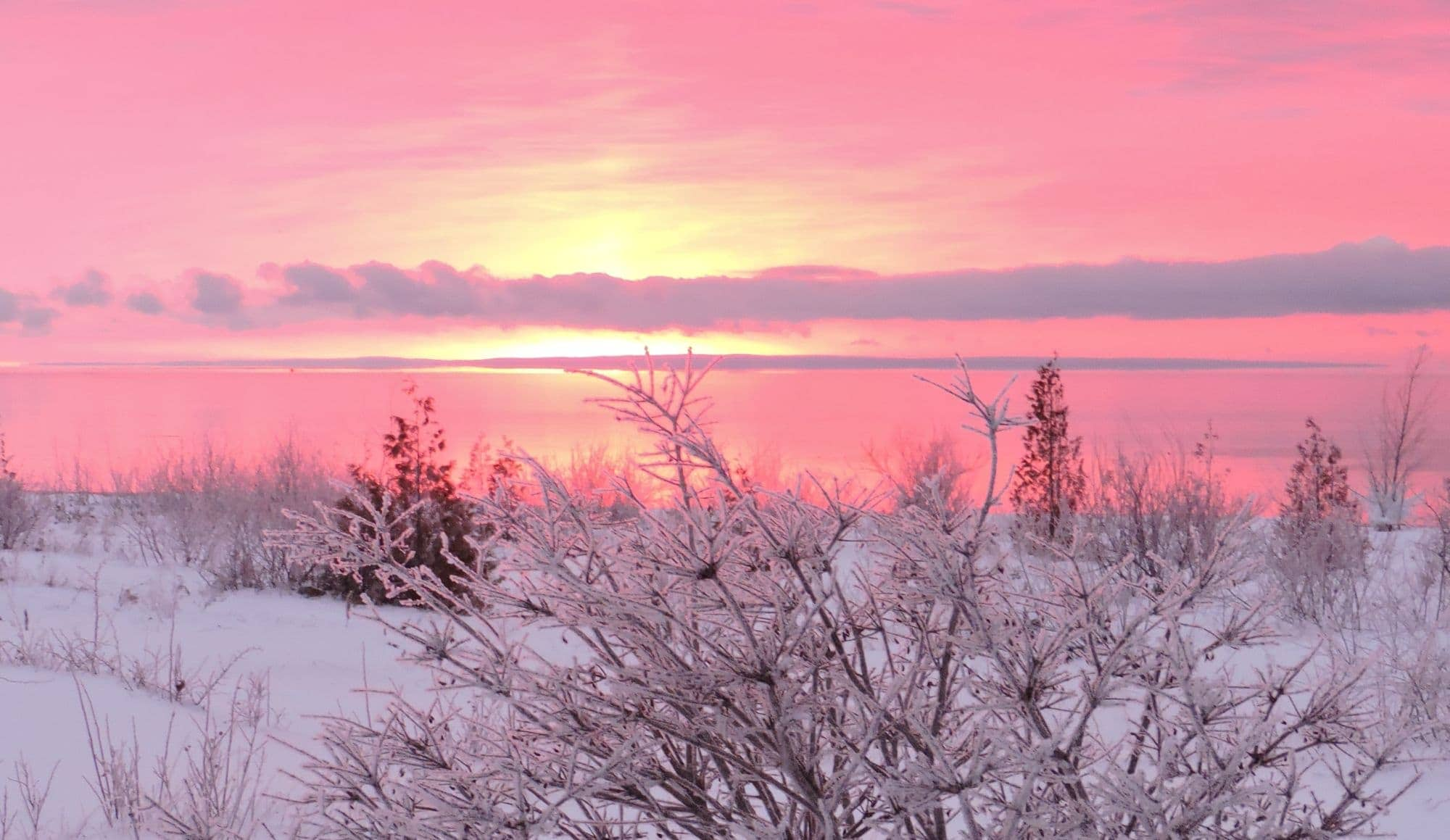 Frosted Pink Sunrise Over Beaver Island Mynorth Com